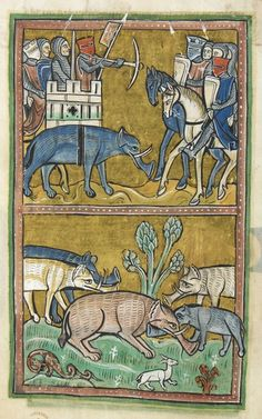 Details of miniatures of an elephant and castle and a herd of elephants; from the Rochester Bestiary, England, c. 1230, Royal MS 12 F. xiii, f. 11v.