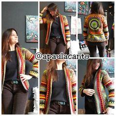 Canto do Pano Artesanato: Cardigan colorido crochê