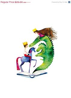 ON SALE Fairy Tale Children Print Illustration Watercolor Prince Princess Dragon Horse