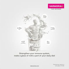 Strengthen your immune system, make a glass of milk a part of your daily diet World Milk Day..! #varmora #ceramicbrand #ceramic #tiles #floortiles #sanitaryware #faucet #bathware #ceramictiles #Brand #marble #slabtiles #nextile #Kalacollection #COVID19 #IndiaFightsCorona #Coronavirus #CoronaCrisis #CoronaVirusUpdate #StrongerTogether #Wrold #Milk #MilkDay #Dairy #Drink #WorldMilkDay #WorldMilkDay2020 #MilkDay2020 National Days, Nutritional Value, Immune System, Glass Of Milk, Faucet, Tiles, Marble, Dairy, How To Make