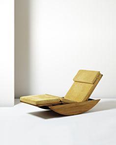Joaquim Tenreiro; Cabreúva Wood and Cane Adjustable Rocking Chaise Longue for Tenreiro Móveis e Decorações, c1947.