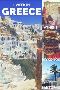 1 week in greece itinerary for athens, mykonos and santorini travel greece 55872851612893680 Greece Itinerary, Greece Honeymoon, Greece Vacation, Greece Travel, Greece Trip, Greece Cruise, Santorini Greece, Athens Greece, Crete Greece