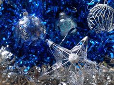 Blue white silver Christmas Xmas baubles decorations