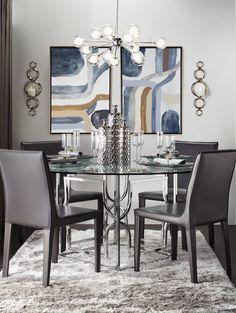A modern, geometric dining room.