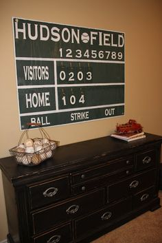Neat idea for sports theme  How to make your own scoreboard tutorial - cool for rooms or basement