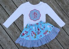 Girl's Toddlers Christmas Skirt and Shirt Outfit - Red and Aqua Christmas Skirt with Personalized Applique Shirt by Livanni on Etsy