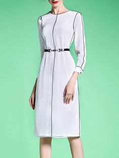Shop Midi Dresses - White Crew Neck 3/4 Sleeve H-line Midi Dress online. Discover unique designers fashion at StyleWe.com.