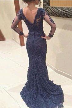 Long Sleeves Lace Navy Blue Prom Dresses,V-neck Open Back Evening Dresses,M68