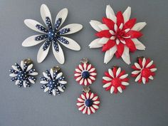 $30 - Jewelry Destash vintage metal flower brooches and clip earrings Red White and Blue