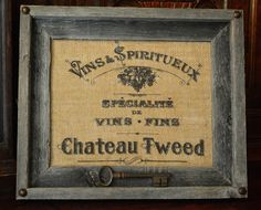 Vintage French Personalized Burlap Art Wine by VintageWicksNMore