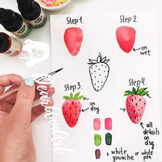 44 Trendy art projects for kids watercolor paint Watercolor Art Lessons, Kids Watercolor, Watercolor Fruit, Watercolor Painting Techniques, Step By Step Watercolor, Fruit Painting, Watercolour Tutorials, Painting For Kids, Watercolour Painting