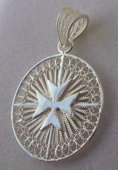 Sale Maltese Cross Filigree handcrafted pendant Knights of Malta Sterling silver
