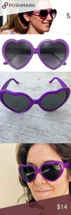Purple HEART SUNGLASSES sun glasses sunnies New! Purple HEART SUNGLASSES - stylish and fun for all ages. One size. UV protection. J1 Accessories Sunglasses