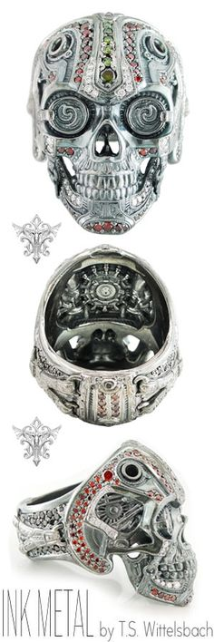 Cast in palladium and exposed to ultra-high heat, T. Wittelsbach's Steampunk Skull Ring radiates retro-futurism through an eerie metallic luster. Mechanically precise details are set with red, green, and white diamonds throughou Men's Jewelry Rings, Skull Jewelry, Jewelery, Skull Rings, Unique Jewelry, Crane, Steam Punk, Unusual Rings, Ring Watch