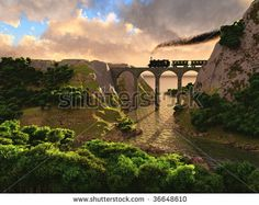 stock photo : Old steam train crossing a bridge over sunset background (3D)