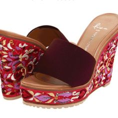 Lisa for Donald Pliner wedges in Fuschia From the Lisa for Donald J Pliner Collection. Basis elastic upper. Slip-on construction for comfort and style. Leather lining and insole. Gorgeous wedge heel covered in decorative tapestry. Platform eases pitch of heel and offers extra style. Lug sole featuring Lisa's reason for inspiration: Green signifies all things good-life, growth, renewal, health and the environment. It is the color of peace. Imported. Measurements: Heel Height: 4 1⁄2 in Weight…