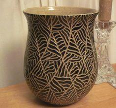 Vase Pottery Thinking Pot Carved Black by thewheelandi on Etsy