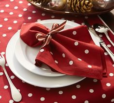 """Crisp white dots create a simple and elegant pattern on our napkins. Layer them with other hues and patterns as a rich color accent on a table setting. 20"""" square Made of pure cotton."""