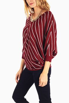 Burgundy-White-Striped-Knit-Dolman-Sleeve-Sweater #outfitinspiration #fallclothes