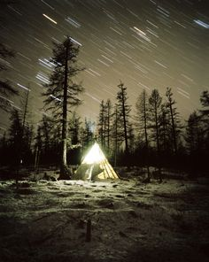 Tsatan Herder's tent on a freezing night, on the border with Siberia, Northern Mongolia. Some of the coldest temperatures on Earth have been recorded in that area. By Frederic Lagrange.