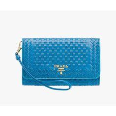 PRADA Wallet featuring polyvore, fashion, bags, wallets, bright blue, women, pocket bag, zipper wallet, prada, shoulder bags and prada bags