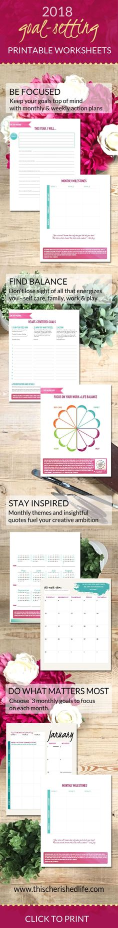 The power of goal-setting with printable goal-setting worksheets for creatives and working moms 2018 planner and 2018 monthly planner with goal setting for 2018 and free worksheets
