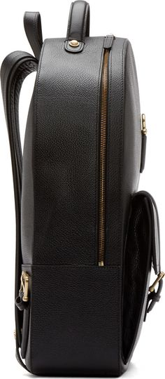 Thom Browne Black Grained Leather Backpack