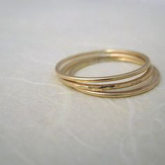 Set Of Three Thin Gold Fill Stacking Rings