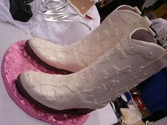 White cowboy boot cakes by yumiang, via Flickr