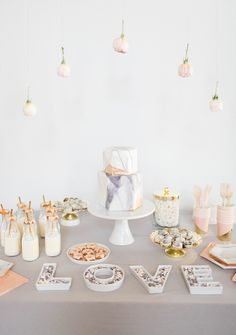 Marble-inspired dessert table featuring personalized @mymms <3 #mysweetstory #sponsored