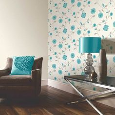 Carina Teal Floral Motif Wallpaper by Arthouse