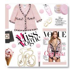 """vOGUE"" by dorachelariu ❤ liked on Polyvore featuring moda, Chanel, Mally, BaubleBar, Balmain, Vichy, Nails Inc., women's clothing, women y female"