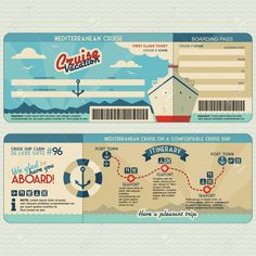 Illustration of Cruise ship boarding pass flat graphic design template. Face and back side vector art, clipart and stock vectors.