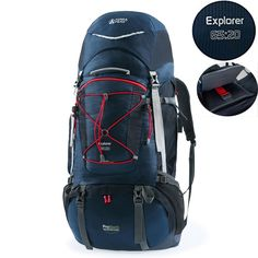 Terra Peak Outdoor Sport Water-resistant Internal Frame Backpack 55/65/85 20L Hiking backpack backpacking trekking bag with Rain Cover for Climbing,camping,travel and Mountaineering Black Navy => Awesome product. Click the image : Best hiking backpack