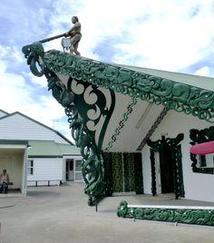 Entrance to Matahiwi Marae, a Maori Meeting House, New Zealand