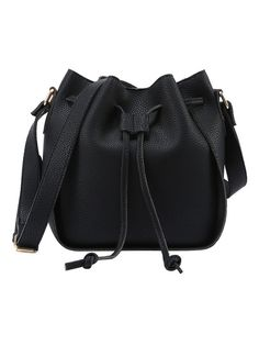 Shop Embossed Faux Leather Drawstring Bucket Bag - Black online. SheIn offers Embossed Faux Leather Drawstring Bucket Bag - Black & more to fit your fashionable needs.