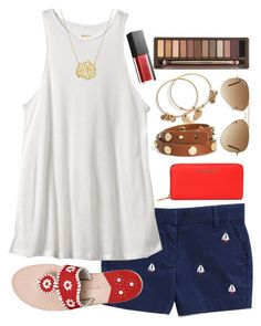 """""""Lydia's contest set 4"""" by lbkatie17 on Polyvore featuring Vineyard Vines, RVCA, MICHAEL Michael Kors, Jack Rogers, Tory Burch, Alex and Ani, Ray-Ban, Urban Decay, Smashbox and lydscruise2016"""