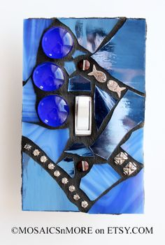 Deep Blue  Single Mosaic Light Switch Cover Wall by MOSAICSnMORE