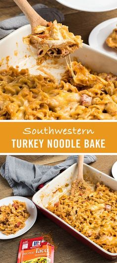 Thanksgiving leftovers get new life in this Southwestern Turkey Noodle Bake. Chili Seasoning, leftover turkey and egg noodles combine for the ultimate casserole recipe.