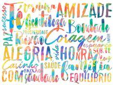 A tipografia de Larissa Grace é o grande destaque do pôster decorativo Coisas Boas. O quadro com frases, de layout paisagem, tem branco como cor predominante. #LarissaGrace #Branco #Tipografia #Paisag...
