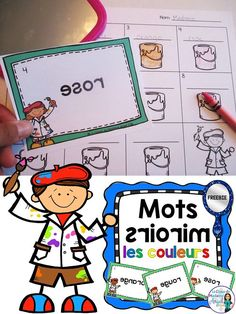 Les couleurs freebie!  Fun activity using mirrors!  Students use the mirror to read the words and record on the recording sheet!  Great for teaching colours in French!