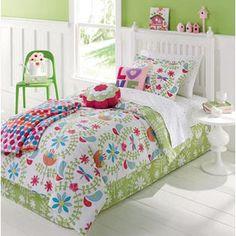 girls bird bedroom    Kids Bedding Girls Flowers, Birds, Nature, Green & Pink Twin Comforter ...
