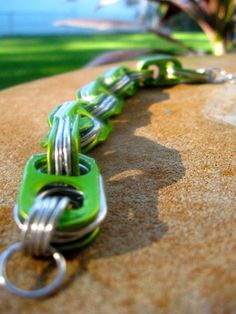 Green Pull Tab Chain Link Bracelet by FatTabJewelry on Etsy, $10.00