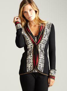 Scroll-l/s doubl knit button cardi