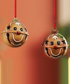 Take a look at this Gingerbread Man Jingle-Bell Ornament Set on zulily today! Christmas Ornaments To Make, Christmas Bells, Christmas Projects, Holiday Crafts, Christmas Holidays, Crochet Christmas, Christmas Angels, Gingerbread Crafts, Gingerbread Decorations