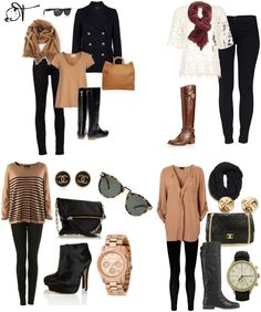 Brown, Black & White. For this look, try Listte Style #805 in black (lisettel.com)  fall fashion | fall style | black pants | black leggings | brown sweater | brown scarf | rose gold | boots