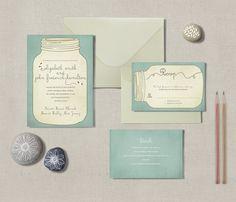 Country Mason Jar Whimsical Invitation & RSVP Card or Postcard - DIY Printable Wedding Invitation