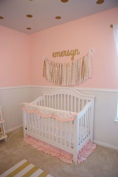 I love the polka dots on the ceiling!   Feminine Pink and Gold Nursery - Project Nursery