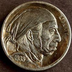 ALEX UZVIN HOBO NICKEL - THE EVIL IN BANDANA - 1935 BUFFALO PROFILE Hobo Nickel, Bandana, Buffalo, Coins, Carving, Profile, Money, Awesome, Art