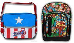 MARVEL COMICS BAGS- Choose From CAPTAIN AMERICA MESSENGER BAG OR COMICS BACKPACK #Marvel #Backpack